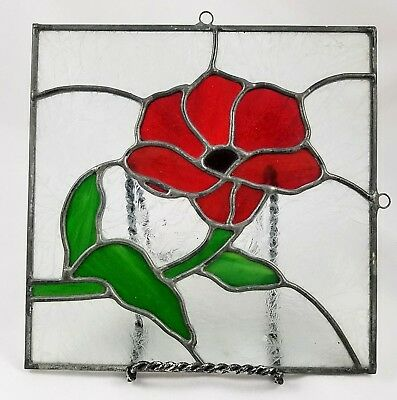 Stained Frosted Glass Red Flower Hanging Frame for Window Suncatcher 8x8