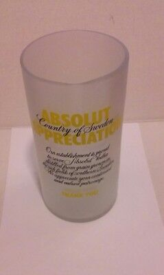 Absolut Appreciation Vodka Glass Tip Jar Frosted Glass Yellow Lettering