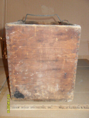 Antique Kerfed Wood Box with Make-Do Wire Carrying Handle