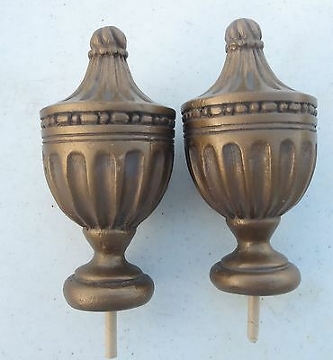 Pair of Ornate Antique Bronze Finish Resin Finials