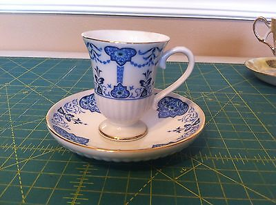 1984 Avon blue on white collectible mini cup saucer