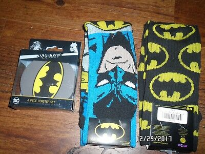 Lot of 2 Pairs of  BATMAN SOCKS SIZE 6-12 AND SET OF JUSTICE LEAGUE COASTERS