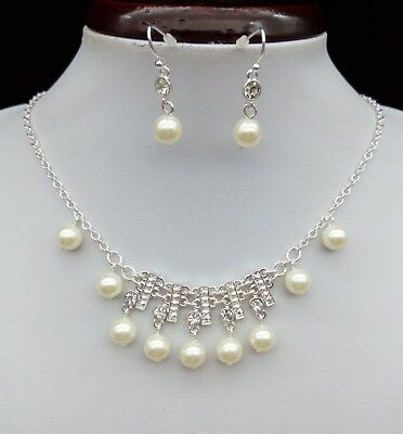 18'' Pearl Crystal Silver Plated Necklace & Earrings Set Wedding Party Jewelry