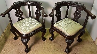 Pair Of Late 19th Chippendale Solid Mahogany Carved Corner Chairs New Upholstery