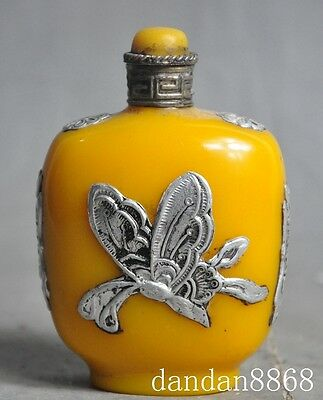 Art Chinese man-made Beeswax Resin Inlay tibet silver Butterfly snuff bottle