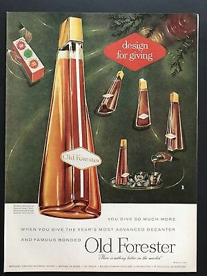 1956 Vintage Print Ad 50's OLD FORESTER Decanter Illustration Liquor Bottle