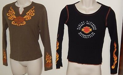 Lot of 2 Womens Medium Slim Fit HARLEY DAVIDSON Embroidered L/S Tops Chicago NYC