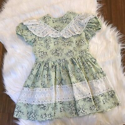 Girls Vintage 2t-3t floral ruffled layered lace dress green dress