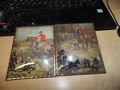 Lot Of 2 Antique Brass Framed Convex Glass Reverse Paint Fox Hunting Prints !