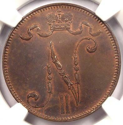 1901 Finland 5 Pennia (5P) - NGC MS63 - Rare Certified Uncirculated Coin!