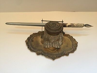 Vintage Heavy duty glass ink well with ornate brass fountain pen holder
