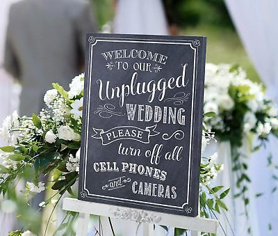 WELCOME TO OUR UNPLUGGED CEREMONY WEDDING SIGN CANVAS black and white chalk styl