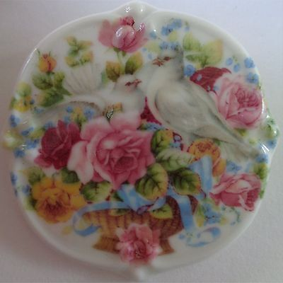 Delicate Handmade Porcelain Cameo Brooch Doves Of Peace Colourful Rose Bouquet