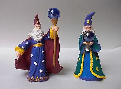 Russ Berrie & Company Wizards Both Holding Colored Crystal Ball - Set of 2