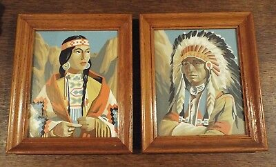 Vintage Pair Of Framed Paint By Number Paintings Of Indians