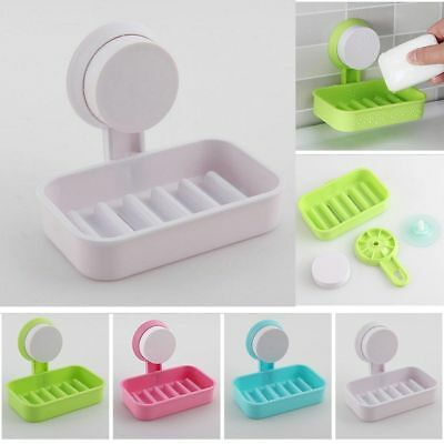 Suction Cup Plastic Wall Soap Dish Basket Holder Tray Bathroom Toilet Shower