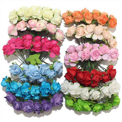 144pcs Assorted Rose Mulberry Paper Flower Cards Favours Crafts Embellishment