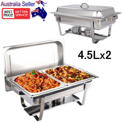 9L Stainless Steel Bain Marie Bow Chafing Dish Food Warmer Buffet Pan Food Tray