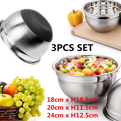 3pcs Stainless Steel Mixing Bowls Salad Food Container Silicone Base 18/20/24CM