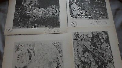 Pablo Picasso set 4 Vollard Suite Lithograph prints hand Signed & stamp