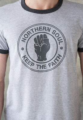 Northern Soul Keep The Faith Fist Logo Ringer T Shirt Tee Top Mod Mens 60s Retro