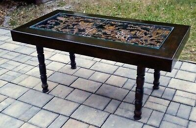 Vintage Asian carved wood relief coffee table glass top samurai Mid-Century
