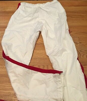 Vintage DeLong 100% Nylon Warm Up White And Red Pants. Size L Made In USA.