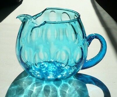 Ocean Azure Blue Blown Glass Inverted Thumbprint Pitcher Applied Ribbed Handle
