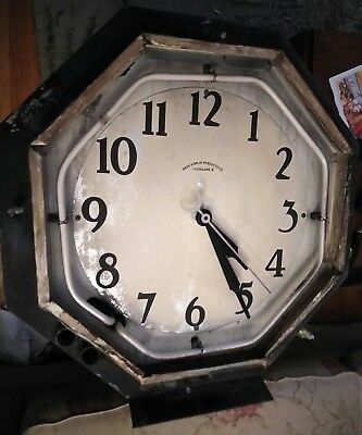 Vintage Cleveland 8 Sided Neon Clock Working Needs Restoration Double Neon