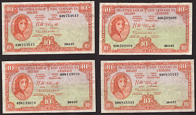Ireland Eire Central Bank of Ireland,10 Shillings 1957, four notes About VF