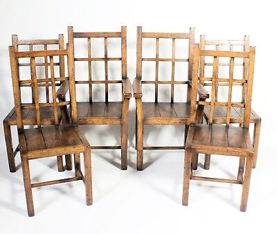 Good Set Of Six Antique Arts & Crafts Farmhouse Style Solid Oak Dining Chairs