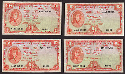 Central Bank of Ireland,10 Shillings 1957, four notes About VF