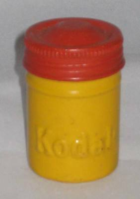 Vintage KODAK FILM aluminum TIN CANISTER container YELLOW RED SCREW top 35mm