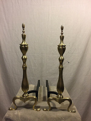 Vintage antique Brass Fireplace Andirons Fire Dogs Log Grate Hearth Log Holders