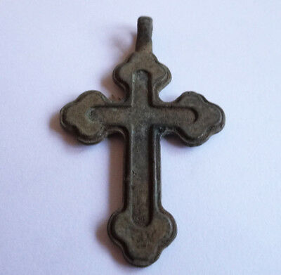 Medieval Russian Orthodox Bronze Cross Ancient Artifact Double Sides