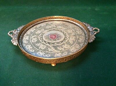 Antique Apollo Ornate Brass With Rose Lace Under Glass Dresser Perfume Tray - Nr