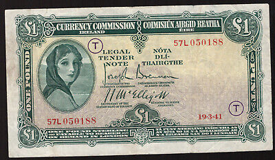 Currency Commmission Ireland, One £1 Pound 1941 War Code T.  Very Fine