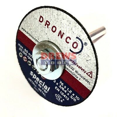 Dronco cut off disc adaptor for 6 mm die grinders to M10 and  Discs optional