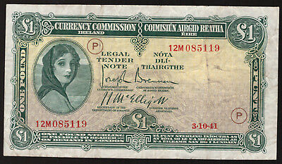Currency Commmission Ireland, One Pound 1941 War Code P. Crisp Very Fine