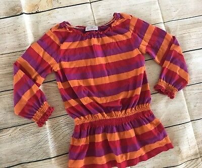 Hanna Andersson Girls Top Tunic shirt Size 100 4T 4 cotton striped long sl EUC
