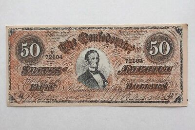 1864 Facsimile of the $50 Fifty Dollar Confederate States America Currency Note