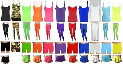 Girls Ladies Neon Leggings Vest HotPant Rara Disco Funky Microfiber Gymnastics