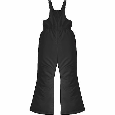 Girls Black Snow Bib Ski Pants Overalls Adjustable Elastic Straps 7-8 FREE SHIP!