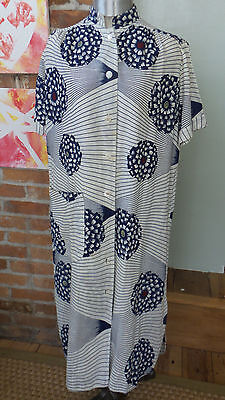 Vtg Striped & Floral Kimono Robe Duster housecoat Blue & White with Belt