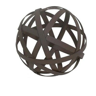 Metal Orb Ball Decorative Sculpture in Bronze Table Accent Home Decor Decoration