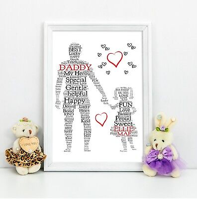 Personalised Christmas Dad Daddy Daughter Gift A4 Print Reduced For
