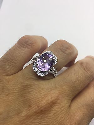 Vintage Genuine Amethyst White Real Sapphire Deco 925 Sterling Silver Ring