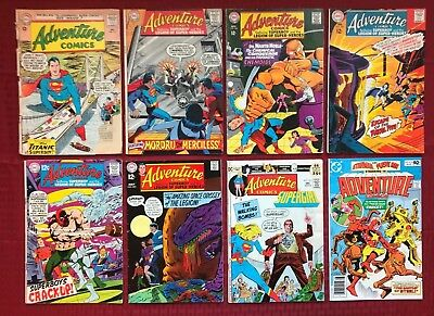 Adventure Comics lot  #315-474 8 issues 1963-, DC FR to VF/NM Silver Age