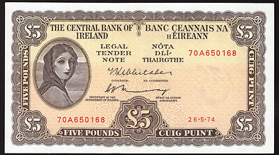 Ireland Central Bank of Ireland Five Pounds 1974 About Uncirculated