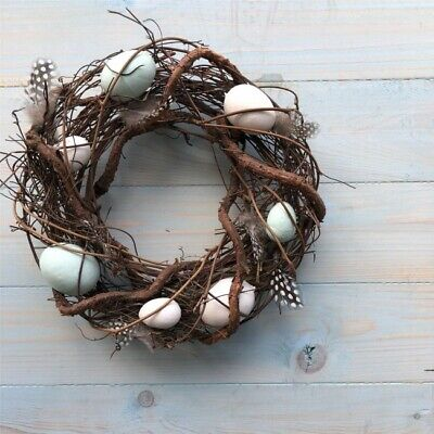 Easter Blue and White Egg Wreath with feathers 25cm Gisela Graham Spring